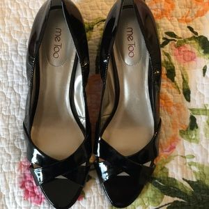 Me Too Black Patent Open Toe Wedges